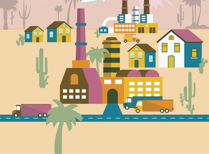 Graphic of a desert town with homes and smelters near each other.